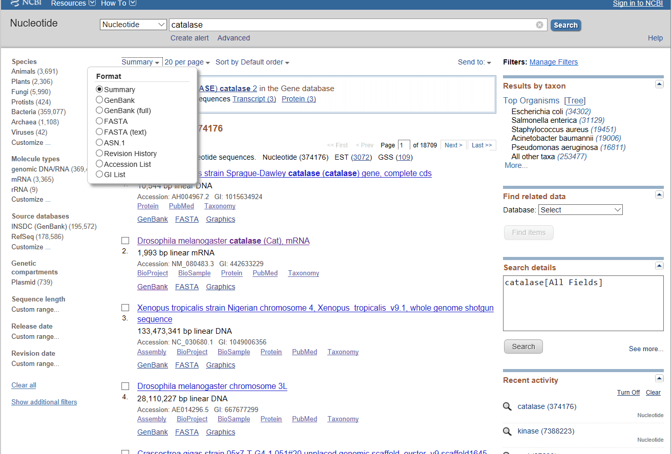 Figure 5. Selecting the file format to write out a GenBank search result