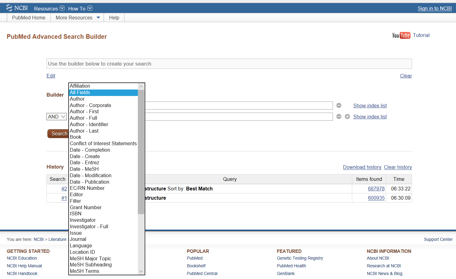 Figure 2. Narrowing a search strategy using the Advanced menu in PubMed