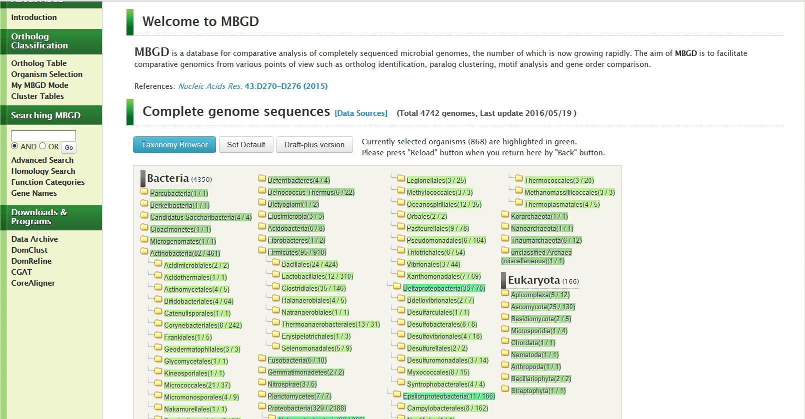 Fig. 4. MBGD database