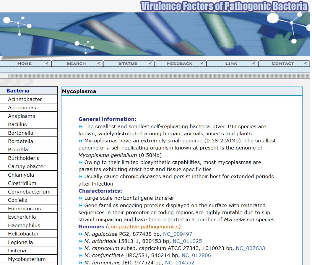 Fig. 6. Mycoplasma Genome Database at VFDB