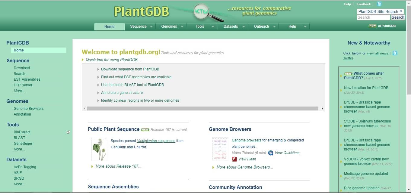 Fig. 10. The Plant genome database: PlantGDB
