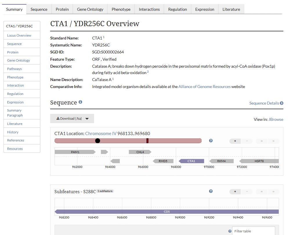 Εικόνα 7. Βάση δεδομένων του γονιδιώματος του Saccharomyces