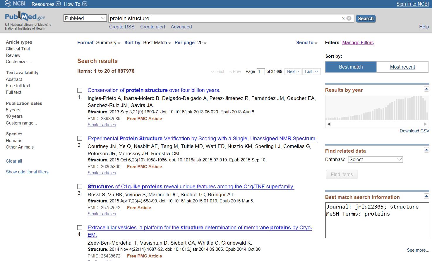 Εικόνα 1. Αποτελέσματα από μια αναζήτηση PubMed